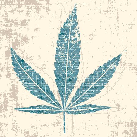 hanf: Marihuana-Leaf in Grunge style  Illustration