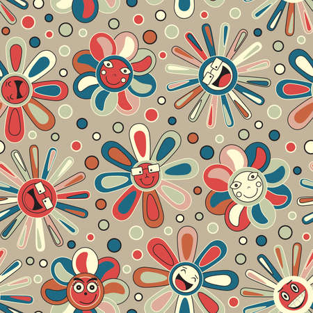 joyful flowers in seamless pattern Vector