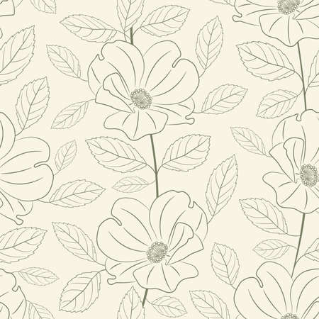 outline roses in floral pattern Vector