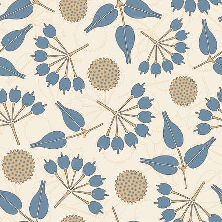 primitive flowers in floral pattern Vector