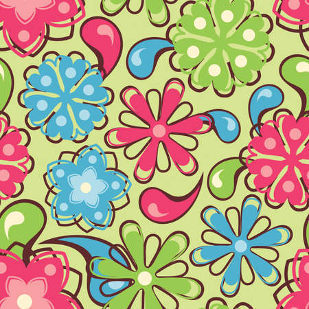 bright flowers in floral pattern Stock Vector - 7632965