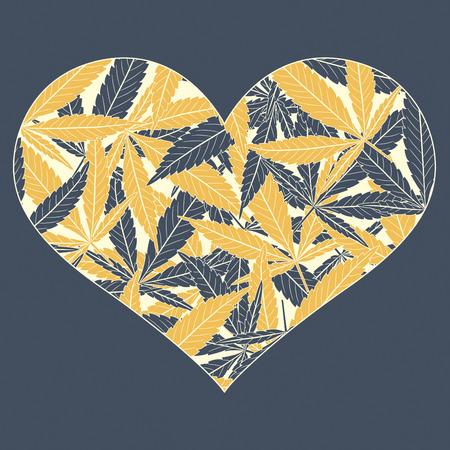 forbidden love: black yellow marijuana leaves in heart Illustration