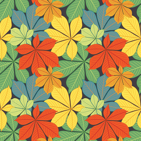 defoliation: autumn chestnuts  leaves in pattern Illustration