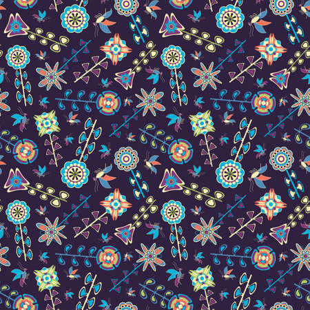 fly and naive flowers in pattern Vector