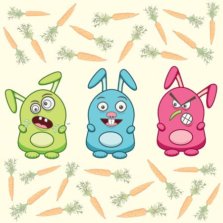 three cartoon rabbits and carrots Vector