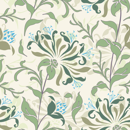 wallpaper pattern: pastel flowers in floral pattern Illustration