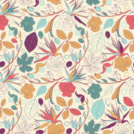 sparce: leaves and flowers in seamless pattern