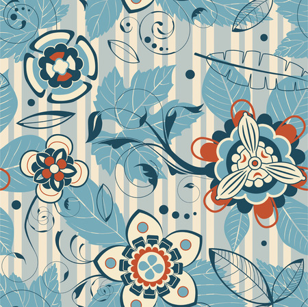 leaves and flowers in seamless pattern