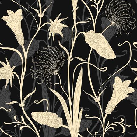 suspenso: hojas elegantes y capullos sobre un fondo oscuro en el modelo inconsútil