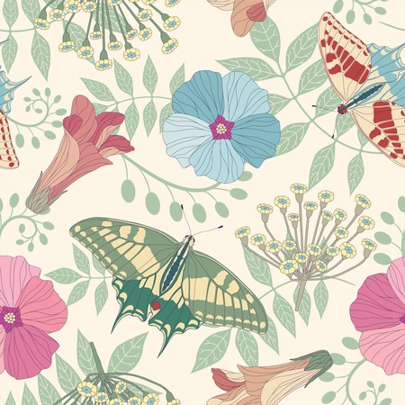 sepal: butterflies and flowers on a white background in seamless pattern Illustration