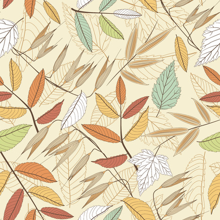 leaves on a beige background in seamless pattern Vector