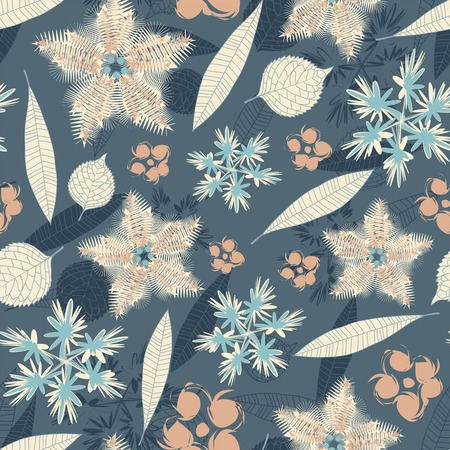leaves and flowers on a blue background in seamless pattern Vector