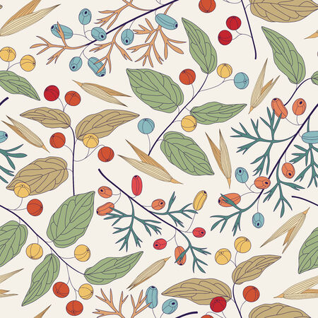 berries and leaves on a white background in seamless pattern Vector