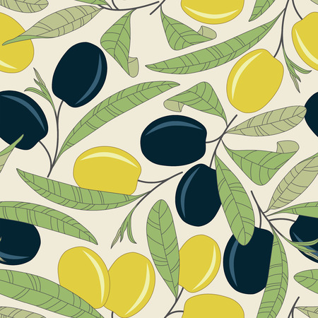 olives on a yellow background in seamless pattern Vector