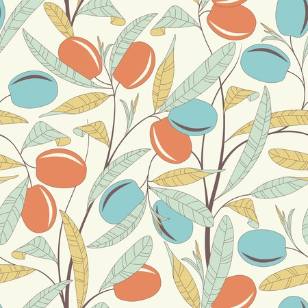 olive tree on a white background in seamless pattern Vector