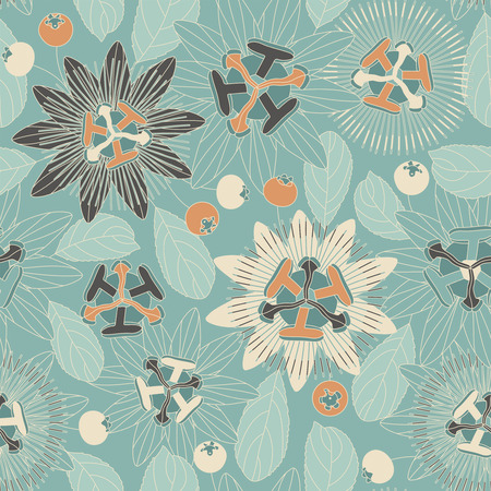 sepals: tropical flowers and berries on a blue background in seamless pattern