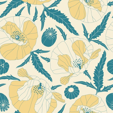 poppies: poppies on a yellow background in seamless pattern Illustration