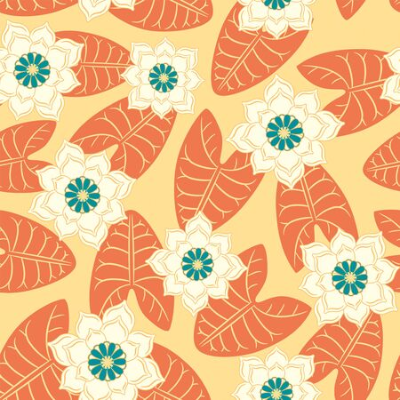 sepal: water-lilies on a yellow background in seamless pattern Illustration