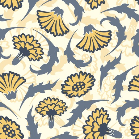 sepal: carnations on a yellow background in seamless pattern Illustration