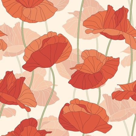 poppies on a white background in seamless pattern Vector