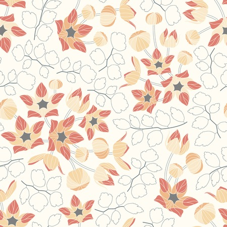 flowers and leaves on a yellow background in seamless pattern
