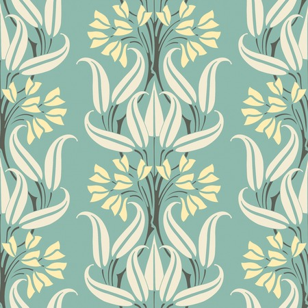 sepal: elegant flowers on a blue background in seamless pattern