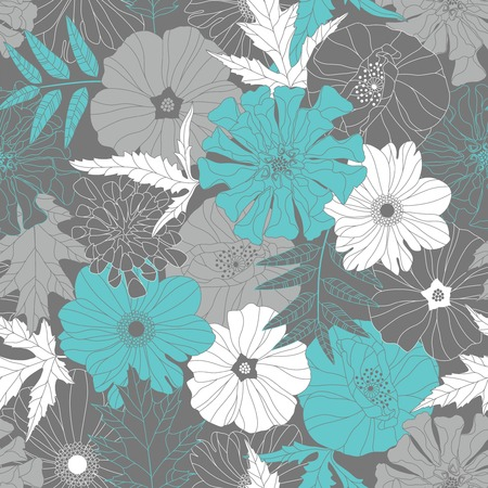 flowers and leaves on a grey background in seamless pattern Vector