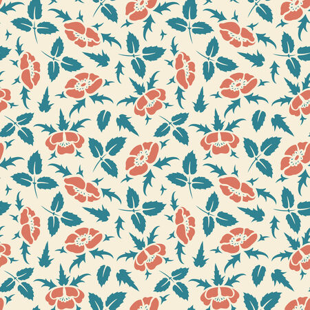 dog-roses on a yellow background in seamless pattern