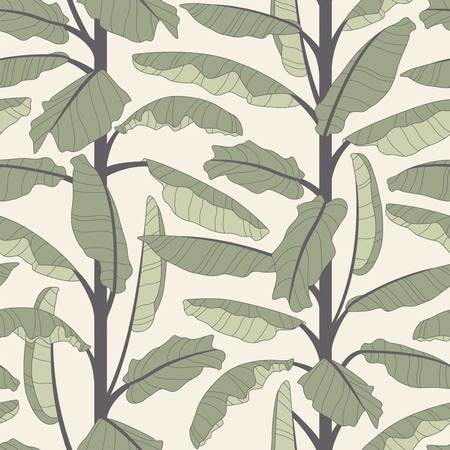 banana tree on a white background in seamless pattern Vector