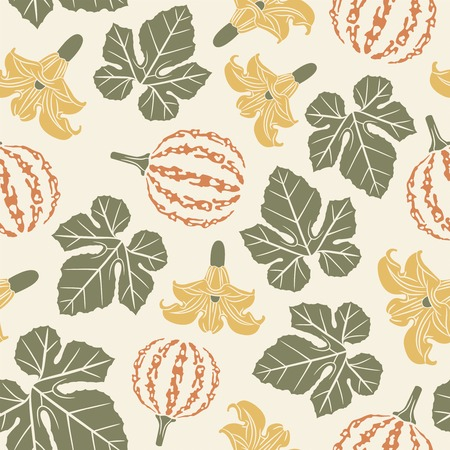 pumpkins on a white background in seamless pattern Vector