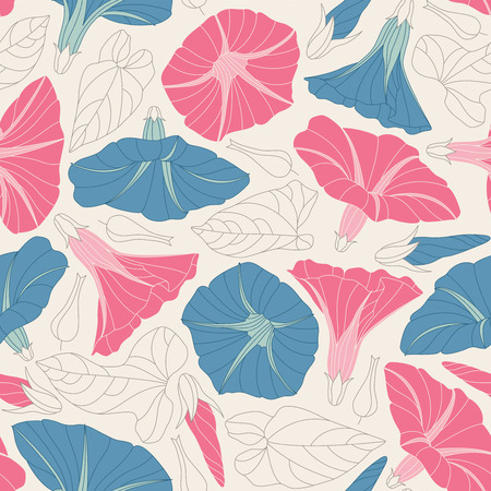 sepal: bindweed on a white background in seamless pattern Illustration