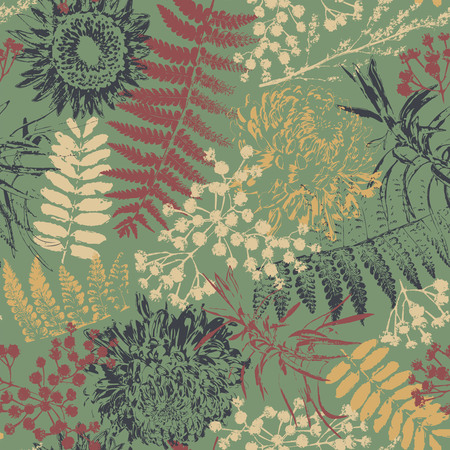 herbarium: grunge flowers and leaves on a green background in seamless pattern Illustration