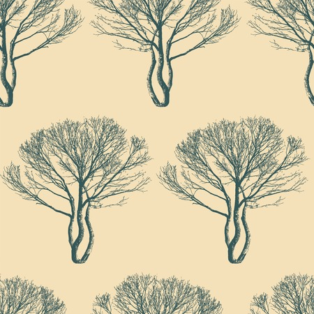 trees on a yellow background in seamless pattern Vector