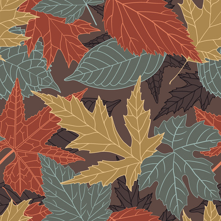intricacy: leaves on a brown background in seamless pattern