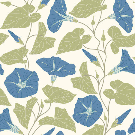 bindweed on a white background in seamless pattern Vector
