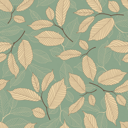 sentimental: leaves on a blue background in seamless pattern