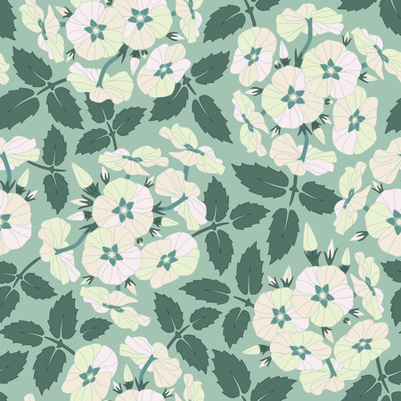 leaves and flowers on a blue background in seamless pattern Illustration