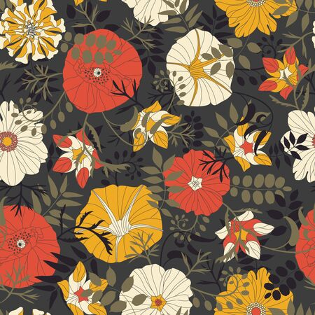 sepal: cartoon leaves and flowers on a dark background in seamless pattern