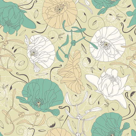 elegant flowers and leaves on a green background in seamless pattern Vector