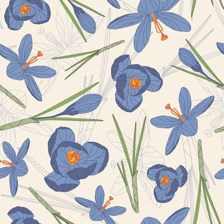 blue crocuses on a white background in seamless pattern Vector