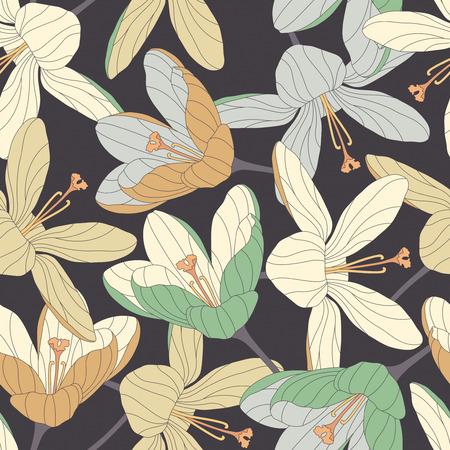 dark beige: crocuses on a dark background in seamless pattern