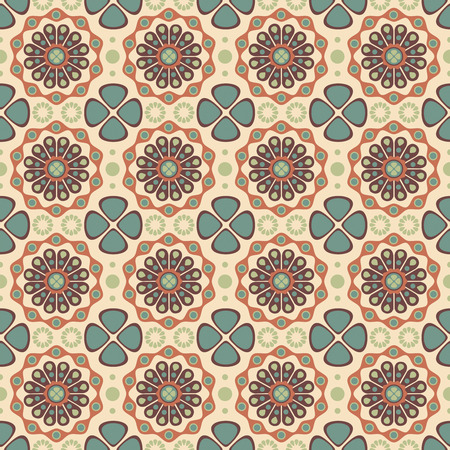 retro flowers on a beige background in seamless pattern Vector