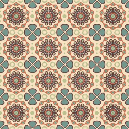 sepal: retro flowers on a beige background in seamless pattern