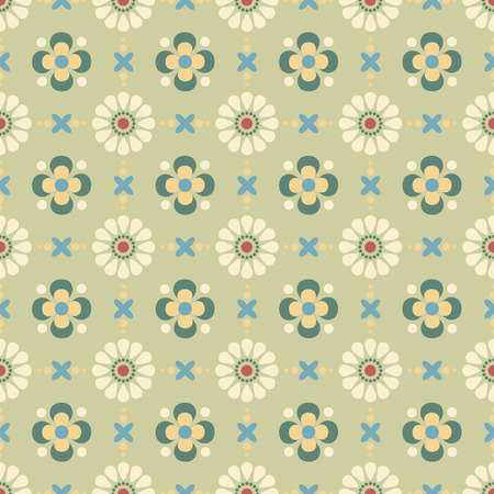 retro flowers on a green background in seamless pattern