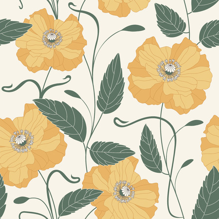 flowers and leaves on a white background in seamless pattern Vector