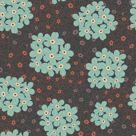 flowers on a dark background in seamless pattern Vector