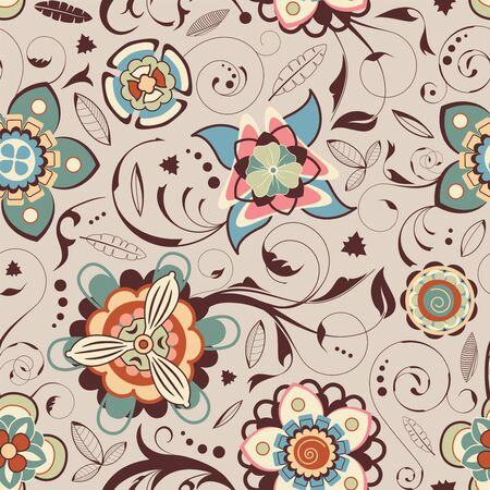 sepal: leaves and flowers in seamless pattern