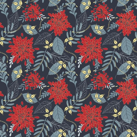 suspense: leaves and flowers on a dark background in seamless pattern Illustration