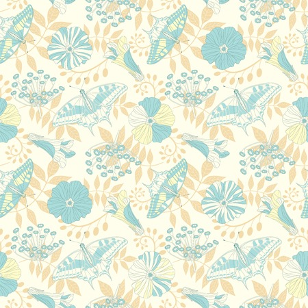 sepal: butterflies and flowers in seamless pattern Illustration