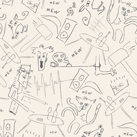 revelry: doodles on a beige background in seamless pattern Illustration